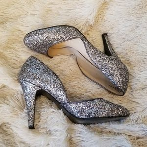 Nine West retro silver glitter round toe heels